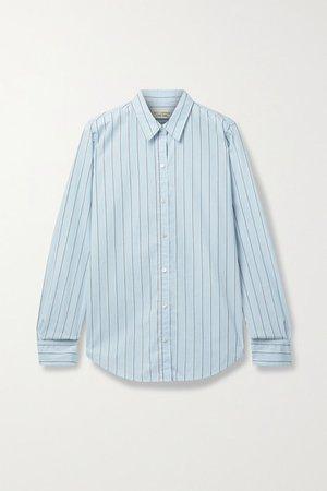 Libby Striped Cotton Shirt - Sky blue
