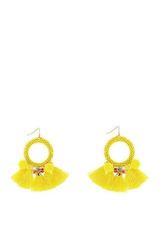 Jessica Simpson Frontal Seed Bead Tassel Hoop Earrings