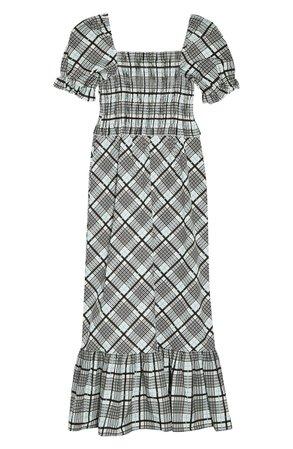 Topshop Sheer Check Midi Dress grey