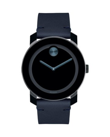 Movado Bold TR90 Two-Hand Watch with Blue Leather Strap