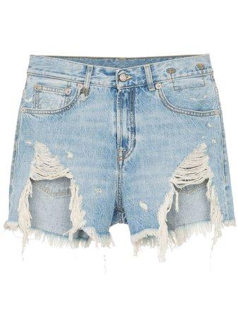 R13 Tilly Shredded Slouch Denim Shorts - Farfetch