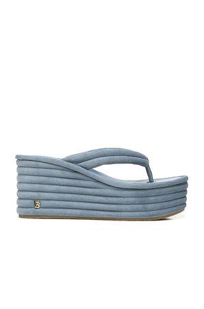 Veronica Beard Geno Platform Sandal in Jeans   REVOLVE