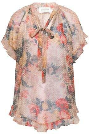 Pussy-bow Floral-print Fil Coupe Silk-blend Blouse