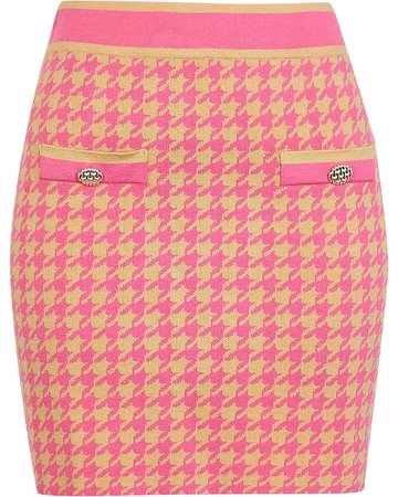 River Island Pink dogtooth print knitted skirt
