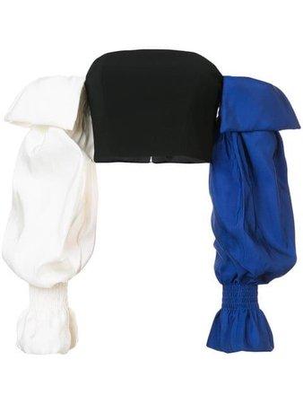 Christian Siriano off-shoulder Colour Block Top