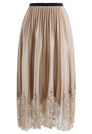 Pleated Sheen Flower Lace Hem Midi Skirt in Tan - Retro, Indie and Unique Fashion