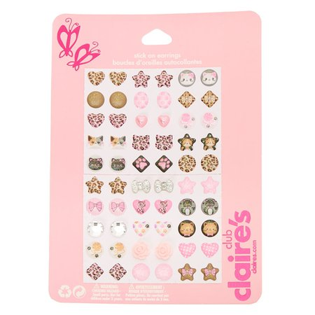 Claire's Club Leopard Stick On Earrings - Pink, 30 Pack   Claire's US