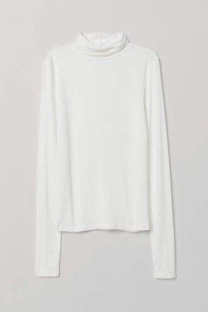 Jersey Turtleneck Top - White