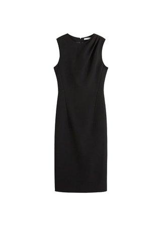 MANGO Pleated shoulder dress