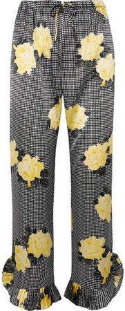 Ruffle-trimmed Printed Silk-blend Straight-leg Pants - Black