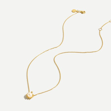 J.Crew: Demi-fine 14k Gold-plated Sun Necklace With Pearl For Women
