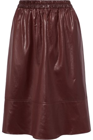 TIBI Gathered coated-shell skirt