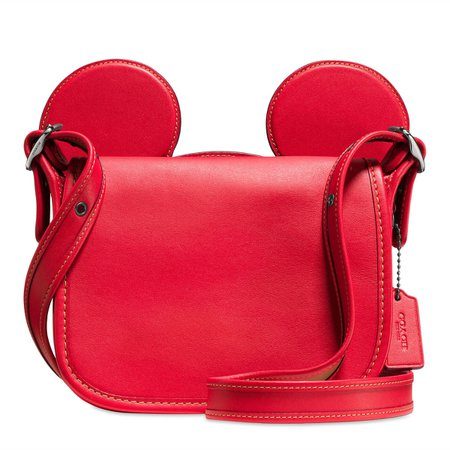 Mickey Mouse Ears Patricia Saddle Leather Bag by COACH - Red | shopDisney