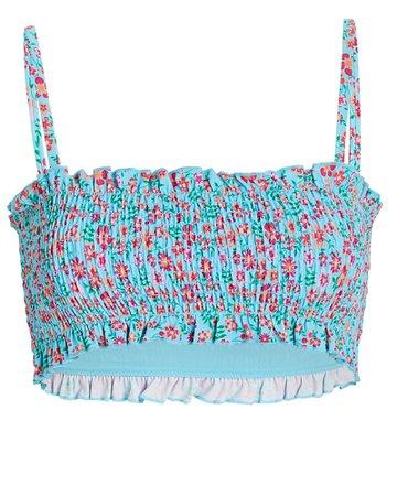 Solid & Striped Indigo Smocked Floral Bandeau Bikini Top | INTERMIX®