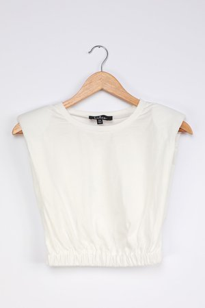 White Muscle Top - Shoulder Pad Tank - Padded Muscle Tee - Lulus
