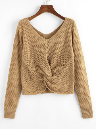[34% OFF] 2020 ZAFUL Twisted Double V Jumper Sweater In LIGHT COFFEE | ZAFUL