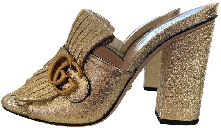 Marmont Gold Glitter Sandals