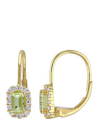 Belk & Co. Peridot and White Sapphire Halo Earrings| belk