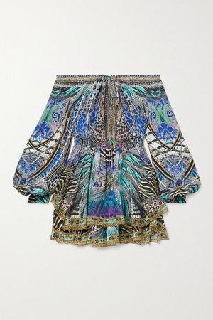 Off-the-shoulder Crystal-embellished Printed Silk-chiffon Mini Dress - Blue