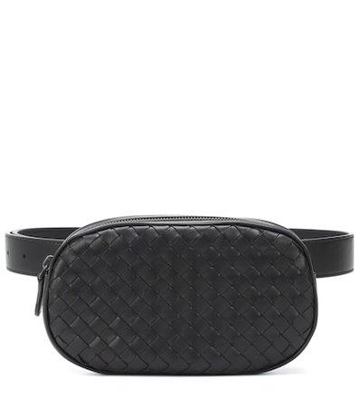 Intrecciato leather belt bag