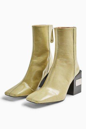 HARRIS Lime Green Block Boots | Topshop