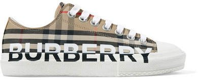Logo-print Checked Cotton-canvas Sneakers - Beige