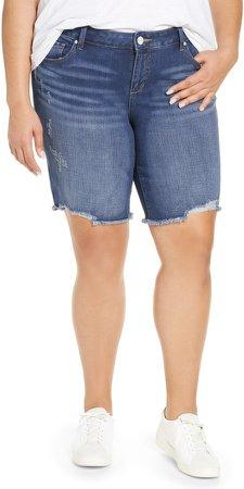 Frayed Hem Denim Bermuda Shorts