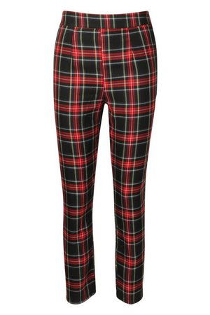 Tartan Check Ankle Grazer Trousers | Boohoo UK
