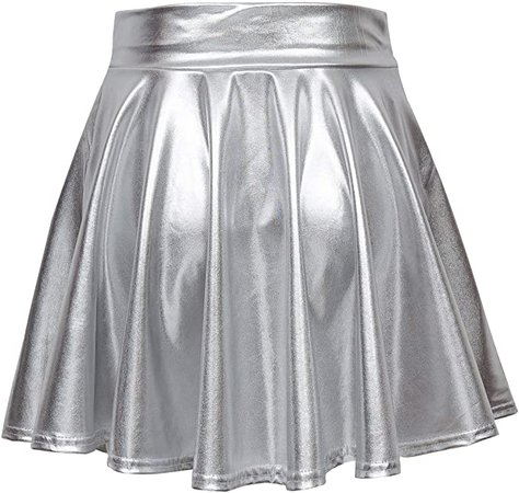 Urban CoCo Shiny Flared Pleated Mini Skater Skirt Silver