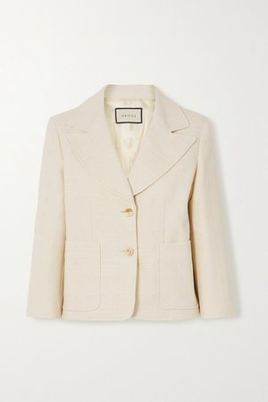 White Cotton and wool-blend jacquard blazer | Gucci | NET-A-PORTER