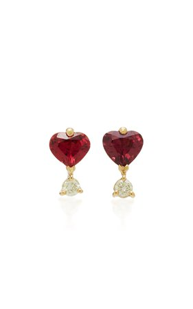 18K Gold, Spinel and Canary Diamond Earrings by Yi Collection | Moda Operandi