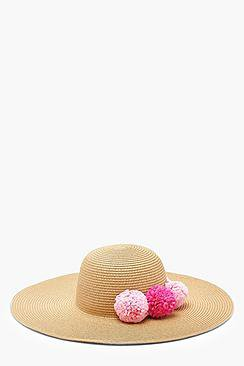 Hope Straw Pom Pom Floppy Hat