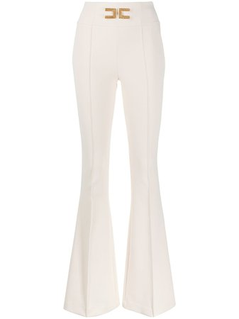 Elisabetta Franchi Logo Flared Trousers - Farfetch