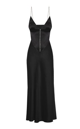 Claire Button-Detailed Crepe Slip Dress by Anna October | Moda Operandi