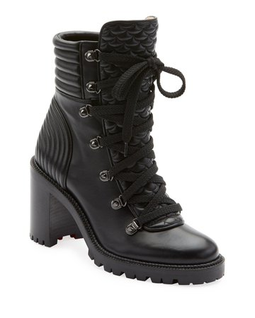 Christian Louboutin Mad Lace-Up Leather Block-Heel Hiker Boots | Neiman Marcus