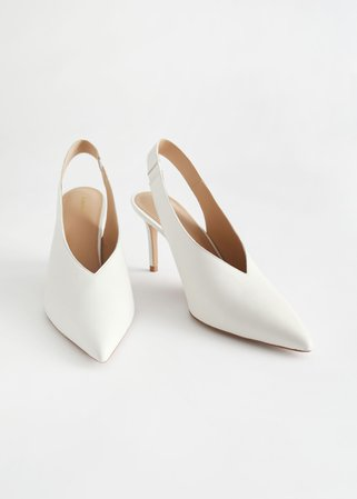Pointed Leather Slingback Pumps - White - Pumps - & Other Stories