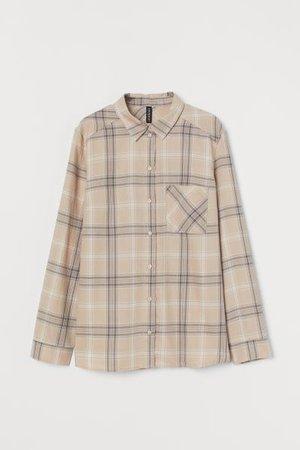 Cotton Shirt - Light beige/plaid - Ladies | H&M US