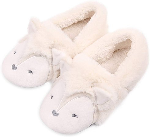 Amazon.com | Fox Fuzzy House Slippers for Women Girls Fluffy Memory Foam Slippers for Christmas Dark Grey | Slippers
