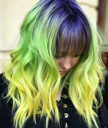 Purple-Yellow-Neon Green Ombre Hair