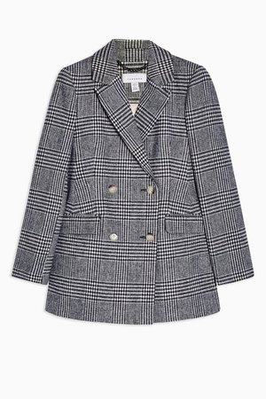 Black And White Check Single Breasted Blazer | TopShop