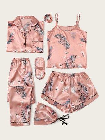 Conjunto de pijama de satén con estampado de grulla tropical 7 piezas | SHEIN USA