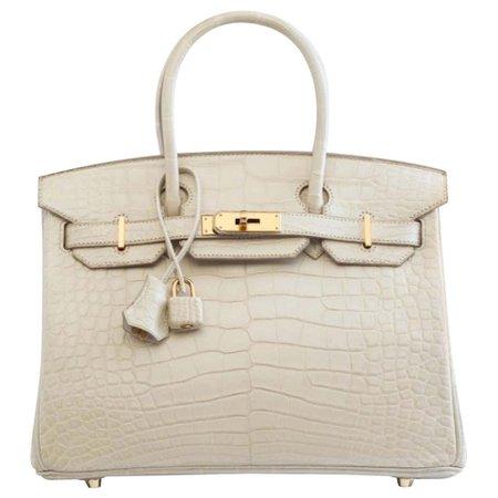 Hermes Birkin 30 Cream Ivory Crocodile Exotic Top Handle Satchel Tote Bag