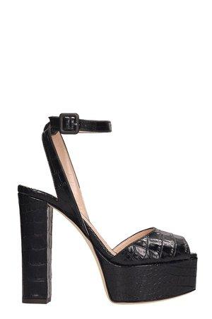 Giuseppe Zanotti Betty Black Python Print Leather Platform Sandals