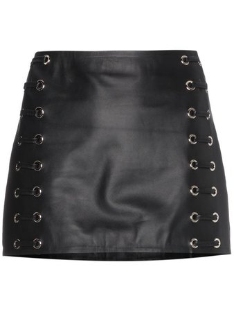 Beau Souci Leather mini skirt with lace up detail