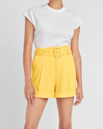 Ladygang High Waisted Yellow Belted Shorts
