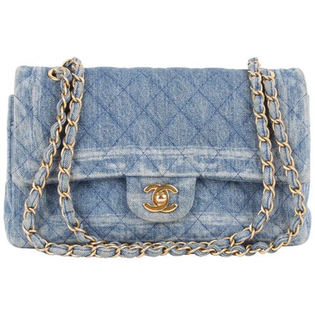 Chanel Classic Medium Denim Double Flap Bag For Sale at 1stdibs