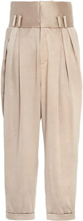 Balmain Silk Pants With Pleats
