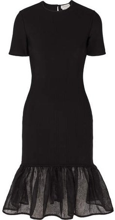Tiered Lace-trimmed Knitted Dress - Black