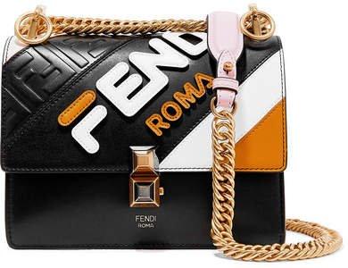 Kan I Mini Appliquéd Leather Shoulder Bag - Black