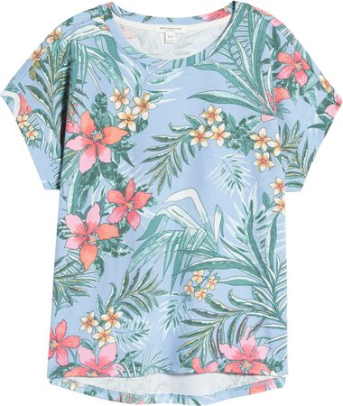 Tropical French Terry Print T-Shirt